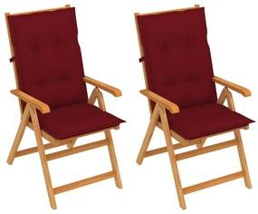 3062400 vidaXL Cadeiras jardim c/ almofadões vermelho tinto 2 pcs teca maciça