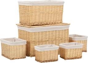 6 pcs conjunto de cestos empilháveis salgueiro natural