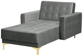 Sofá chaise longue reclinável em veludo cinzento claro ABERDEEN