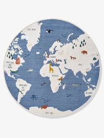 Tapete redondo, Mapa Mundo azul medio liso com motivo