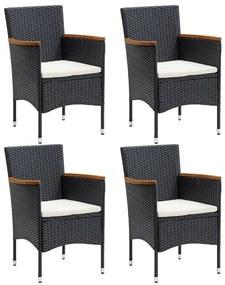 310566 vidaXL Cadeiras de jantar para jardim 4 pcs vime PE preto