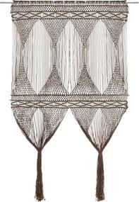 Cortina em macramé 140x240 cm algodão cinzento-acastanhado