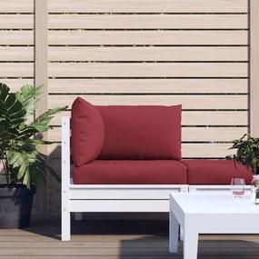 315073 vidaXL Almofadões para sofá de paletes 3 pcs tecido vermelho tinto