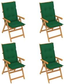 3065550 vidaXL Cadeiras de jardim c/ almofadões verdes 4 pcs teca maciça
