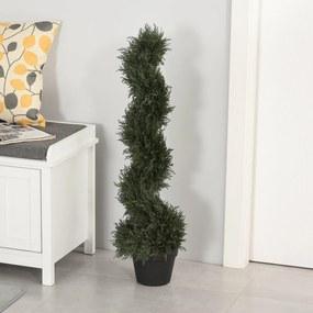 Outsunny Planta decorativa artificial de 90 cm com vaso de cedro com poda em espiral topiaria de 650 folhas verde escuro
