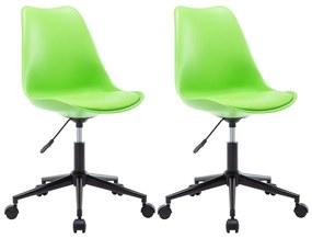 246781 vidaXL Cadeiras de jantar giratórias 2 pcs couro artificial verde