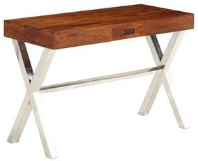 245652 vidaXL Secretária madeira acácia c/ acabamento sheesham 110x50x76 cm