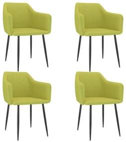 3068668 vidaXL Cadeiras de jantar 4 pcs tecido verde