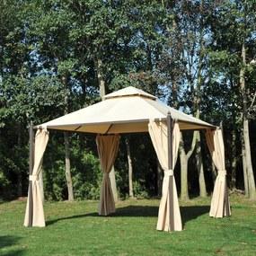 Outsunny Pérgola de jardim 3x3m com telhado duplo 4 cortinas laterais Espaçoso para eventos bege