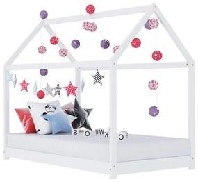 283349 vidaXL Estrutura de cama para crianças 70x140 cm pinho maciço branco