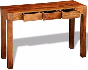 Mesa consola com 3 gavetas 80 cm madeira sheesham sólida