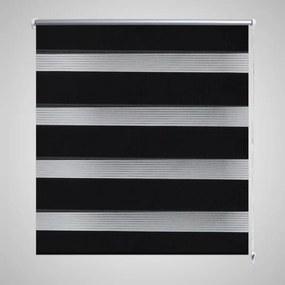 240220 vidaXL Estore de rolo 120 x 230 cm, linhas de zebra / Preto