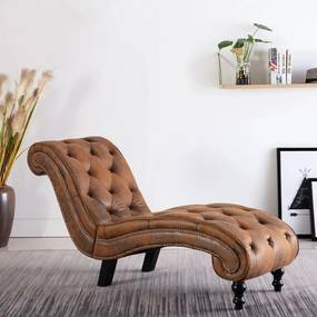 Chaise longue camurça artificial castanho