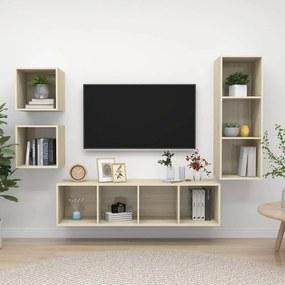 3079775 vidaXL 4 pcs conjunto de móveis de TV contraplacado carvalho sonoma