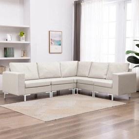 287192 vidaXL 5 pcs conjunto de sofás tecido cor creme