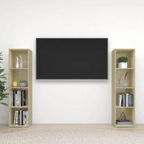 3079919 vidaXL Móveis de TV 2 pcs 142,5x35x36,5 cm contrapl. carvalho sonoma