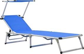 Espreguiçadeira dobrável com teto alumínio e textilene azul