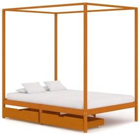 3060539 vidaXL Estrutura de cama p/ dossel c/ 2 gavetas 120x200cm pinho maciço