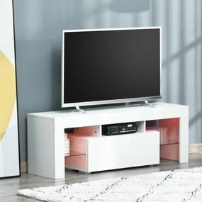 HOMCOM Móvel de TV Moderno Móvel de Sala de Estar para Televisão com Luzes LED com Controle Remoto Prateleiras de Vidro Ajustáveis e Gaveta 130x35x45cm Branco de Alto Brilho