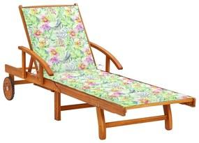 3061614 vidaXL Espreguiçadeira de jardim com almofadão madeira acácia maciça