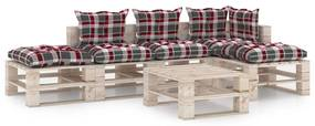 3066156 vidaXL 6 pcs conj. lounge de paletes p/ jardim com almofadões pinho
