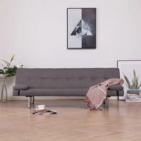 282192 vidaXL Sofá-cama com duas almofadas poliéster cinzento-acastanhado
