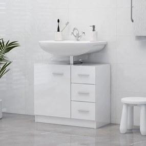 804190 vidaXL Armário de lavatório 63x30x54 cm contraplacado branco brilhante