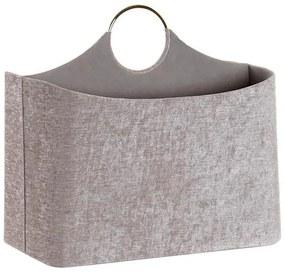 Porta-revistas DKD Home Decor Poliéster Veludo Bege (37 x 19 x 30 cm)