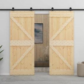 3057584 vidaXL Porta de correr com ferragens 80x210 cm madeira de pinho maciça