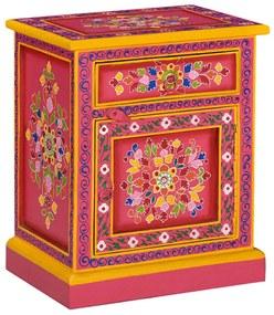 244835 vidaXL Mesa cabeceira madeira de mangueira maciça rosa pintada à mão
