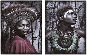 Pintura DKD Home Decor Africana Colonial 30 x 1.8 x 40 cm (2 pcs)