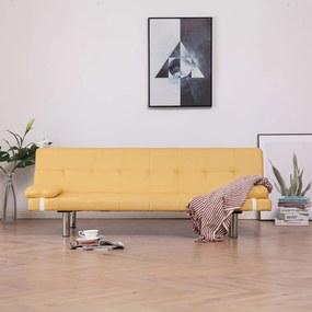 Sofá-cama com duas almofadas poliéster amarelo