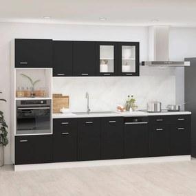 3067624 vidaXL 7 pcs conjunto armários de cozinha contraplacado preto