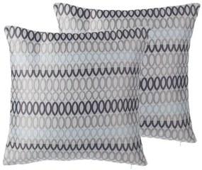 Conjunto de 2 almofadas cinzentas com circulos 45 x 45 cm WATSONIA