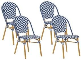 Conjunto de 4 cadeiras de jardim azuis e brancas RIFREDDO
