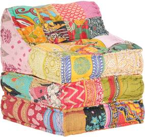 Sofá lounge modular tecido em retalhos