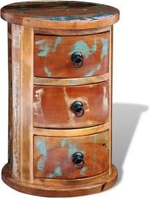 Armário de armazenamento de madeira maciça redondo com 3 gavetas