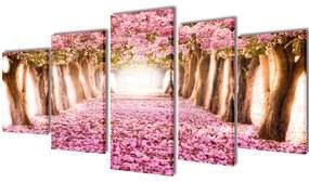 241575 vidaXL Políptico flor de cereja 200 x 100 cm