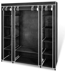 240495 vidaXL Armário tecido com compartimentos e varões 45x150x176 cm preto