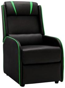 320174 vidaXL Cadeira reclinável couro artificial preto e verde