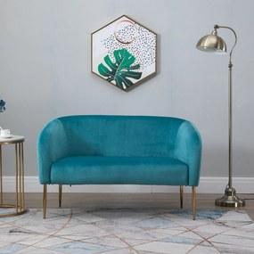 HOMCOM Sofá de 2 lugares moderno com pernas metálicas Assento acolchoado Apoios de braço e encosto curvos 124x73x76 cm Verde