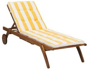 Espreguiçadeira para jardim de madeira com almofada amarela e branca CESANA