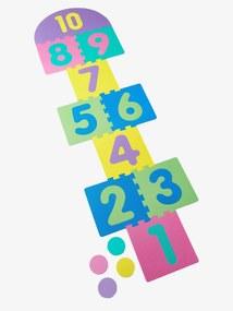 Tapete com jogo da macaca e puzzle em esponja + 4 malhas verde medio liso com motivo
