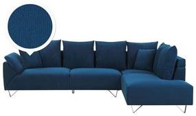 Sofá de canto em veludo azul marinho LUNNER