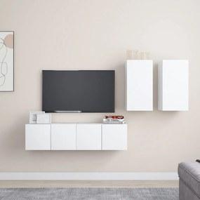 3078685 vidaXL 4 pcs conjunto de móveis de TV contraplacado branco