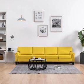 287177 vidaXL Sofá de 4 lugares em tecido amarelo