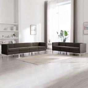 7 pcs conjunto de sofás tecido cinzento-acastanhado