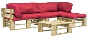 275310 vidaXL Sofá de paletes jardim 4 pcs almofadões vermelhos madeira