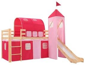 282712 vidaXL Estrutura cama infantil c/ escorrega e escada pinho 208x230cm