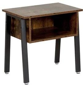 Mesa de cabeceira castanho escuro e pernas pretas VONORE